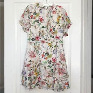 Parker floral mini dress- tie front